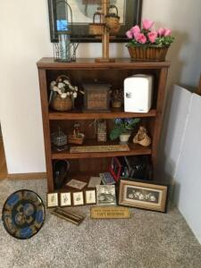 Three shelf bookcase and contents-decorative flowers, wall art, funny refrigerator magnets, briefcases, small electric fridge, mug holder. Lots of neat items,  so be sure to see all photos. Shelf measures 36 x 14 x 44