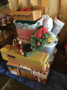 More Christmas items including 4 1/2' lighted Palmer pine tree, table top decorative trees, figurines, wreathes.  This is a good lot with lots more neat items so don't miss out!