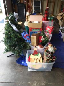 We're hitting you with Christmas again – 4' lighted tree, lots and lots of decorations, bulbs of all sizes, fiber optic tree, wrapping paper galore, decorations, tote full of bags, too much to mention!