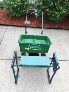 Scotts speedy green spreader and garden kneeler/seat with tool pouch