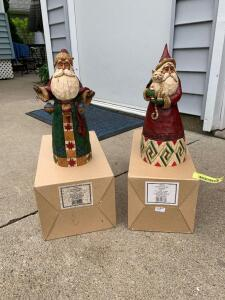 Two Jim Shore Heartwood Creek Santa figurines-Santa with cat and Santa with ornaments