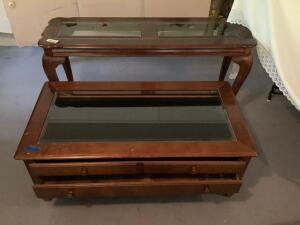 Two tables – sofa table measures 51 x 16 x 27 and coffee table measures 46 x 24 x 18. The coffee table has two drawers