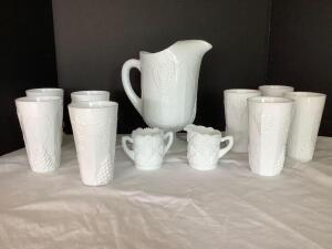 Milk glass pitcher w six tumblers and Westmoreland cream and sugar