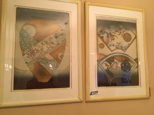Two 35 x 49 oriental themed prints One is numbered 144/400