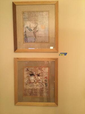Two oriental themed prints measure 26 x 28 Frames are made to look like bamboo