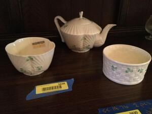 Three pieces of Belleek china