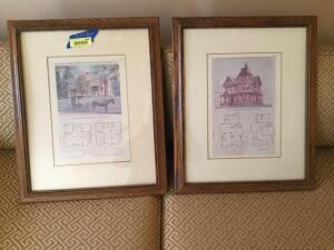 "Framed floor plan of ""A Residence at Pelham Manor New York"" and ""A Residence at Bridgeport Connecticut""  Measure 19 x 23"