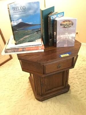 Octagon shaped side table and coffee table books Measures 24 x 24