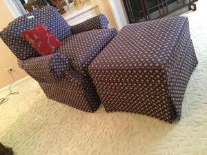 Comfy chair and matching ottoman. Super comfy-you know how I like to test the furniture!!