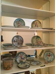 MANY oriental themed plates **Nesting urns not included**