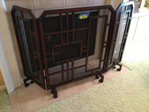 "Trifold fireplace screen Screen is 35""H Sides measure 14"" and front measures 28"""