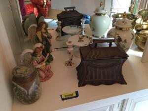 Angel figurines, pottery urn, Bavaria W. Germany urn, floral candlestick holders and matching comport, and pagoda trinket box