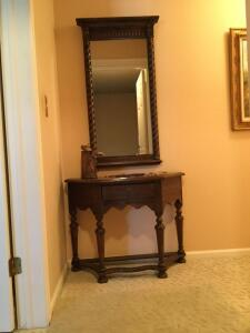 Ethan Allen table with drawer, wall mirror and artsy decor Table measures 14 x 36 x 28 and mirror measures 22 x 44