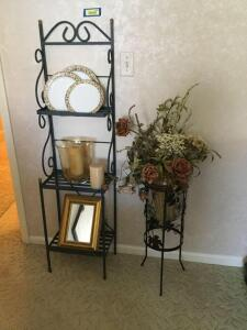Small three shelf metal bakers rack, plant stand with glass pot and flowers and three china plates. Rack measures 14 x 10 x 55