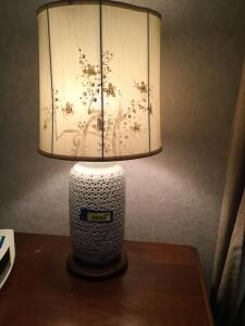 Matching floral design fine china table lamps