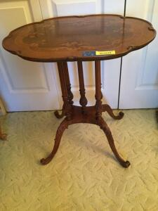 Beautiful (at least I think so!) parlor table Measures 19.5 x 26