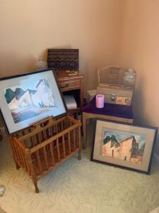 Magazine rack, side table w/ drawer, chair, southwestern art, religious items, mail caddy, safety chest