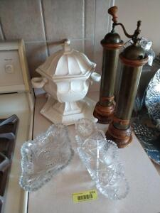 Large soup tureen, two cut glass relish trays and a large pepper grinder and salt shaker made of brass and wood  **Ladle for soup tureen broken in transit**