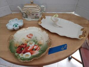 Lenox teapot, Lenox serving tray, Lenox cornucopia, Lenox clover leaf dish, and a Royal Munich hand-painted plate with poppies