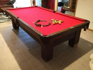 A.E. Schmidt Co. 125+ year old slate top pool table w/ mother of pearl inlay Comes w/ pool cues, balls, chalk, sharpener, wooden snooker counter Measures 5? x 9? x 32? high BONUS-also has ping pong table top!!!!