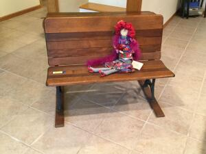 Vintage school desk w a Red Hat Society teacher Bench measures 36? and the desk is 12?яя
