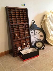 Printer drawer and all the little pieces to fill it up, hanging decorative clock-battery operated and table top battery operated clock. Drawer measures 17 x 32, clock is 2? across