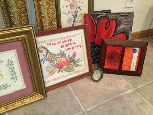 Two vintage frames measure 23 x 28 withя 20 x 15 1/2 opening, K Burton girl with bunny on canvas measures 25 x 29, other assorted picture frames and art