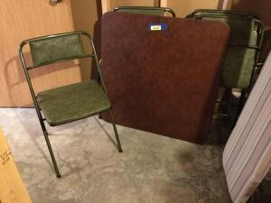 Square card table and four padded chairs. Looks to be in pretty good condition
