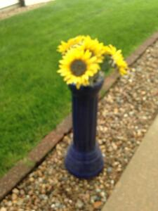 Blue ceramic 2' flower vase-a real beauty!