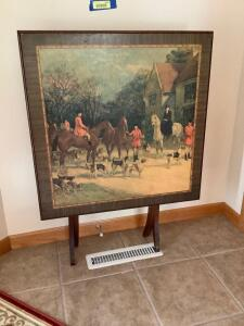 Vintage wooden folding table with hunting scene Table measures 27 x 27 x 30