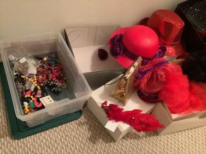 Time for dress up-Red Hats, fur hat, purse, costume jewelry