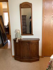 Single door cabinet measures 34 x 12 x 29, wall mirror measures 17 x 41 and a Carmen Manago doll