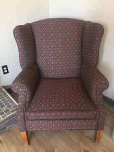 Wing back chair, diamond design pattern in hunter green, navy, rust and beige colors, Very clean