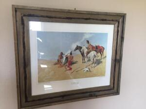 """The Smoke Signal"", Barn wood framed print by Frederic Remington-25x21"