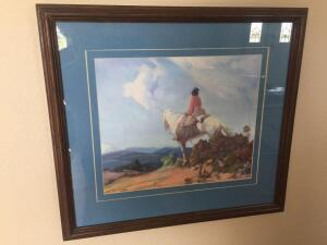 Framed art, Indian Lady riding horse-18 1/2 x 16 1/2