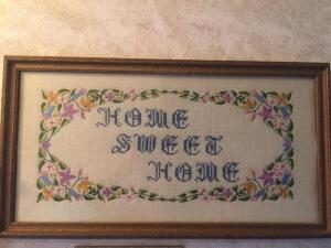 Hand painted plate with holder, embroidered framed Home Sweet Home Wall Art