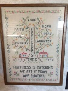 Embroidered framed wall art piece 14 1/2 x 19