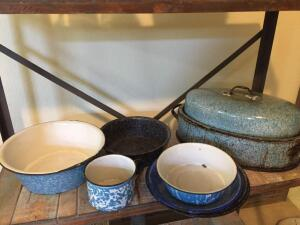 Granite ware pieces, roaster, plates, bowls, cup