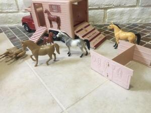 Buddy L Stables truck, horses and corral with box