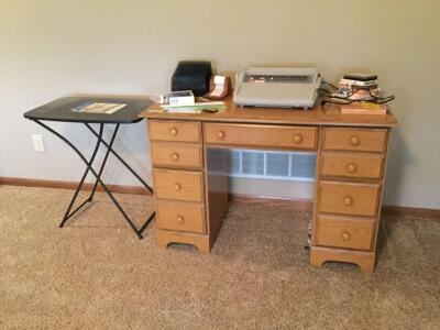 Student desk with Brother GX-6750 Electronica typewriter, adjustable folding table, desk accessories, and playing cards. Desk measures 44 x 20 x 30