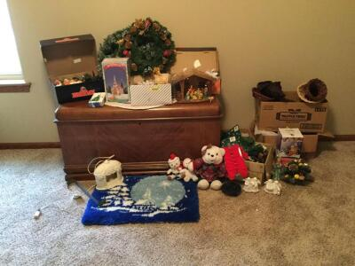 More Christmas – holiday bears, nativity scenes, wreathes, wreath hanger, tabletop decorations and much more. Cedar chest not included