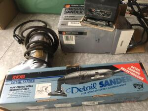 Electric drill, Ryobi detail sander and Black and Decker finish sander