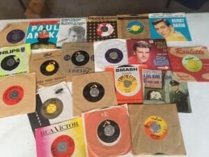 45 records-Paul Aiken, Ricky Nelson, Bobby Darren, Roy Overson, Tennessee Ernie Ford, Elvis Presley, Mitchell and more