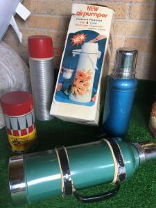 Various Stanley thermoses, thermos brand thermos and Air pot