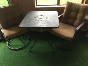 Metal patio set with cushions, two swivel chair, table 28 x 28