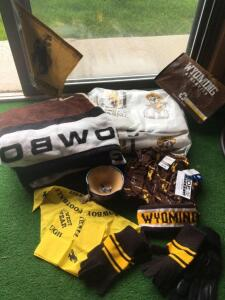 University of Wyoming Cowboy blankets, gloves, scarf and bowl