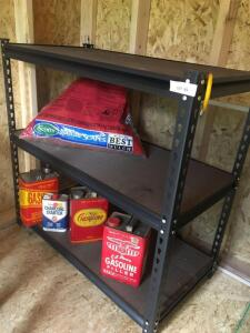 Three shelf metal shelving unit 36 x 18 x 36 with contents