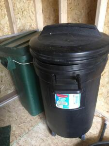 Rubbermaid wheeled refuse container, other container with lid