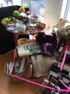 Picture frames, three legged table, rocking chair, burlap coffee bags, fake fruit Table measures 23 x 16 x 28