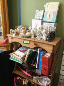 Shelf and all-Precious Moments, cookbooks, artwork, wall sconces, decorative eggs. Shelf measures 29 x 12 x 48